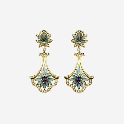 18kt Flower Enamel Dangle Earrings