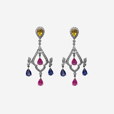 18kt Multi-Color Sapphire and Diamond Drop Earrings