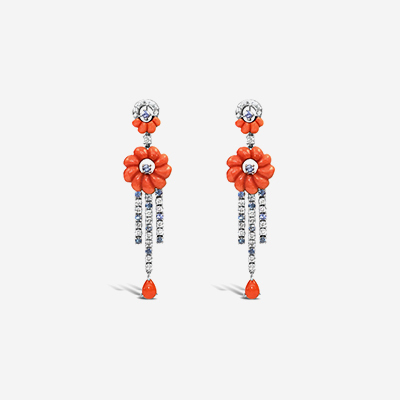 14kt Coral, Sapphire and Diamond Drop Earrings