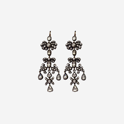 14kt and Silver Antique Chandelier Diamond Earrings