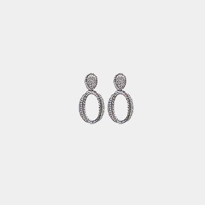 Oval Diamond Dangle Earrings