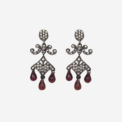 14kt Antique Diamond and Pink Sapphire Drop Earrings