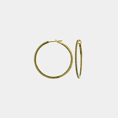 Yellow Diamond Hoop Earrings