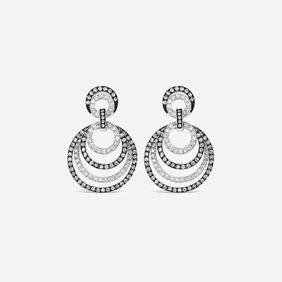 18KT Black and White Circle Diamond Earrings