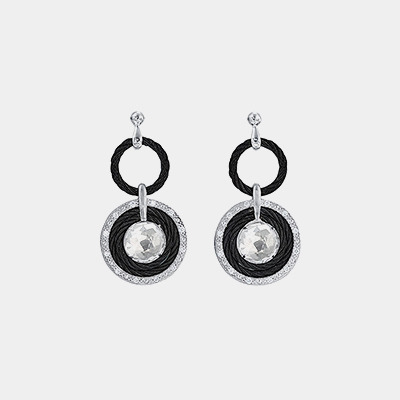 Black Cable White Topaz Drop Earrings
