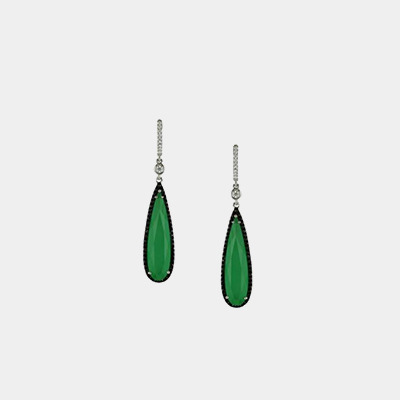 Green Agate Diamond Earrings
