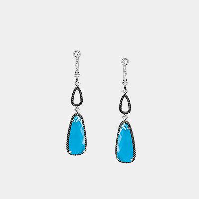 Turquoise and Diamond Dangle Earrings