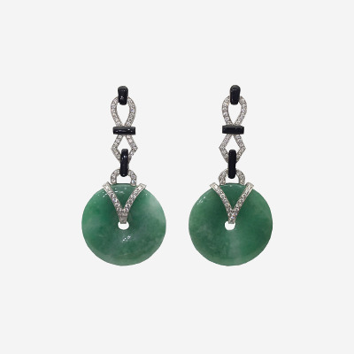18kt Jade and Diamond Art Deco Drop Earrings