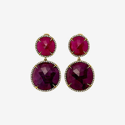 14kt Ruby Slice Drop Earrings with Diamonds