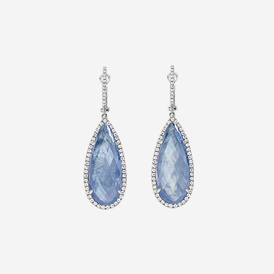Diamond Earrings with Pear Shape Lapis and Mother-Of-Pearl