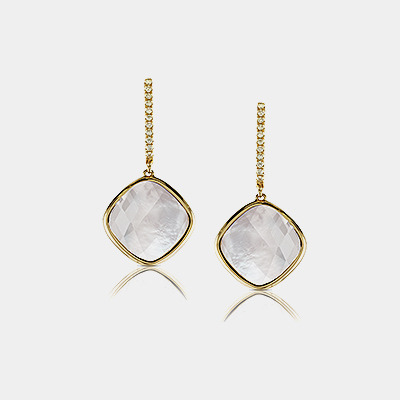 White Topaz Mother of Pearl and Diamond Earrings