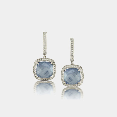 Lapis, Mother of Pearl, White Topaz and Diamond Earrings