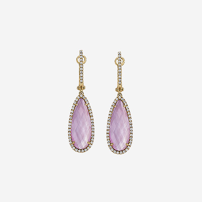 18kt Diamond Drop Earrings with White Topaz Pear Shaped Amethyst and Mother-Of-Pearl