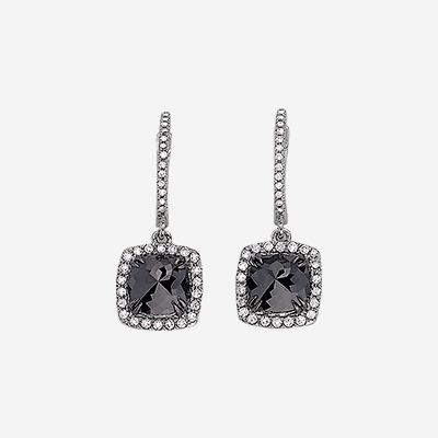 14kt Black Diamond Drop Earrings with White Diamond Halo
