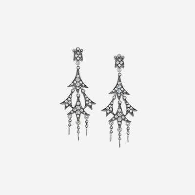 18kt Diamond Chandelier Earrings with Black Rhodium Finish