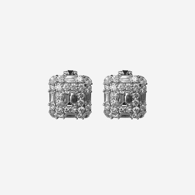 Platinum Clip and Post Diamond Earrings