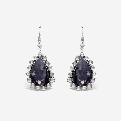 18kt Sliced Black Diamond Drop Earrings
