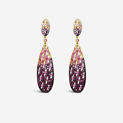 14kt Pink Sapphire Drop Earrings