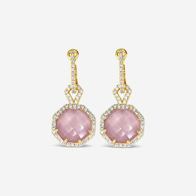 18tk Pink Quartz Drop Earrings
