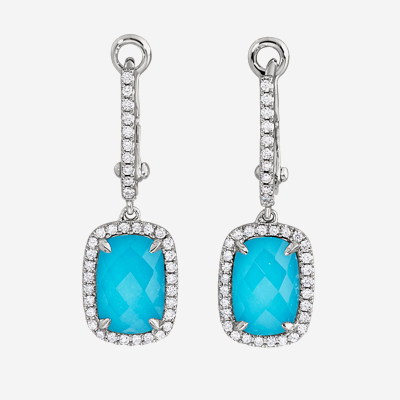 18kt Turquoise And Diamond Drop Earrings