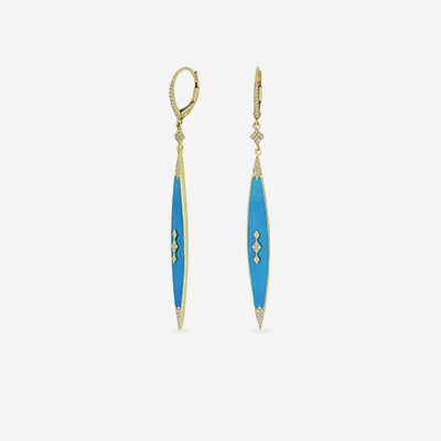 14kt Turquoise and Diamond Pointed Earrings
