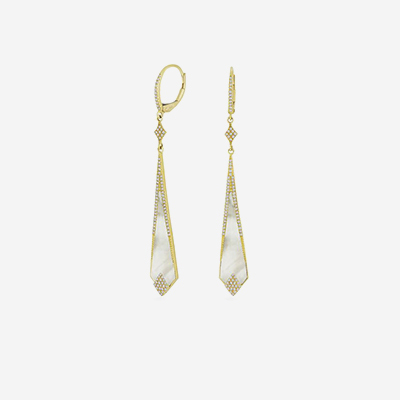 14kt Diamond and Mother-Of-Pearl Drop Earrings
