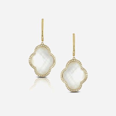 18kt Quartz over Mother-of-Pearl Drop Earrings