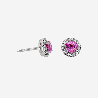 Platinum Tiffany Pink Saphire and Diamond Stud Earrings