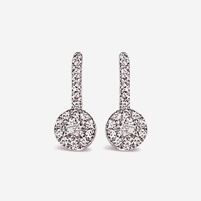 14kt Diamond Halo Drop Earrings