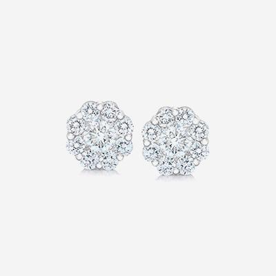 14kt Diamond Halo Stud Earrings