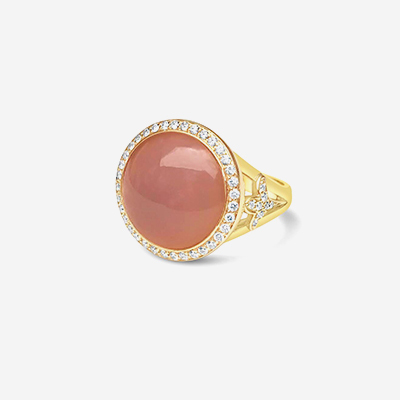 18kt Pink Chalcedony Ring