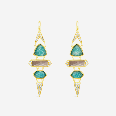18kt Quartz over Mother-of-Pearl and Quartz over Amazonite Diamond Drop Earrings