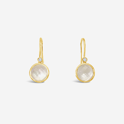 18kt Quartz over Mother-of-Pearl and Diamond Drop Earrings