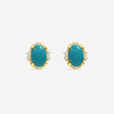14kt Oval Turquoise and Diamond Stud Earrings