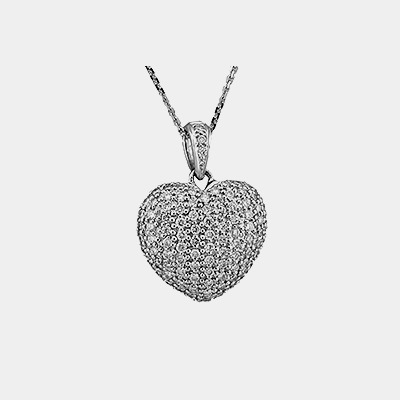 Pave Diamond Heart
