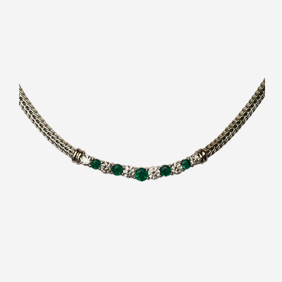 14kt Diamond and Emerald Necklace