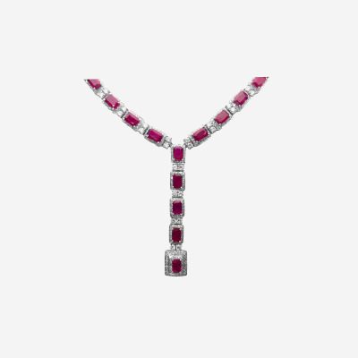 18kt Ruby and Diamond Drop Necklace