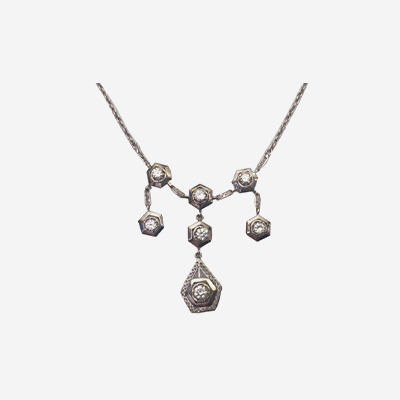 14kt Antique Diamond Drop Necklace