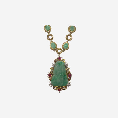 18kt Antique Jade Necklace