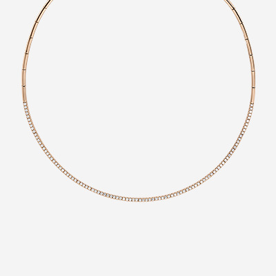 18kt Choker Half-way-around Diamond Necklace