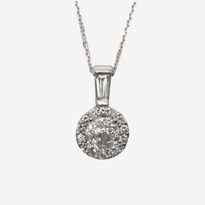 14kt Halo Diamond Pendant