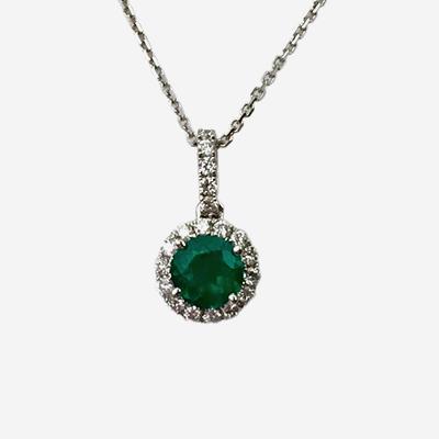 14kt Emerald and Diamond Halo Pendant
