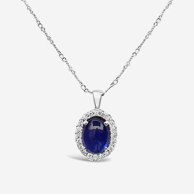 14kt Blue Cabochon Sapphire Pendant