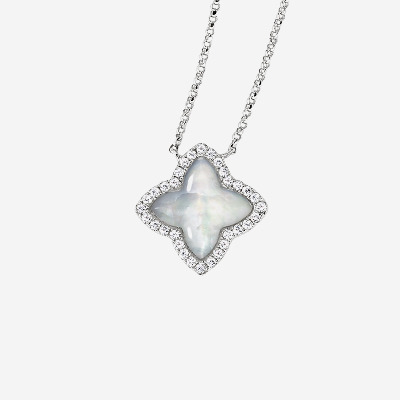 14kt Pendant with Mother-Of-Pearl Star with Diamond Halo