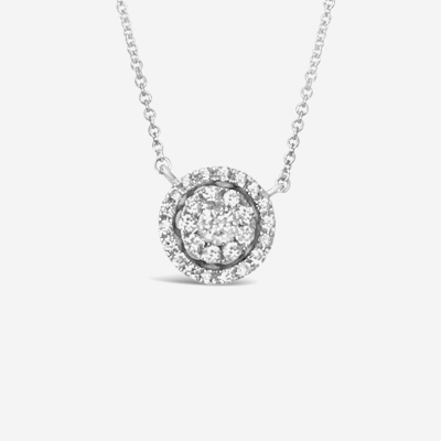 14kt Diamond Halo Circle Pendant