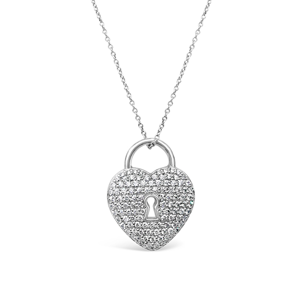 d60637f49 Platinum Tiffany Pave Diamond Heart Lock Pendant E B Horn Sku