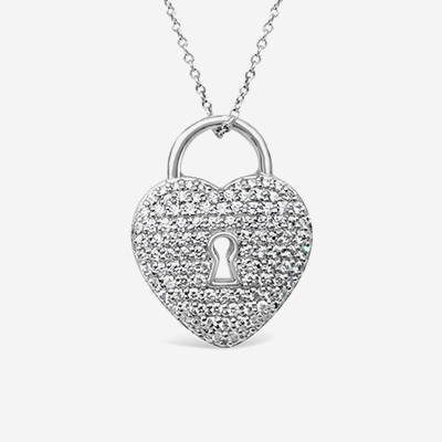 Platinum Tiffany Pave Diamond Heart Lock Pendant