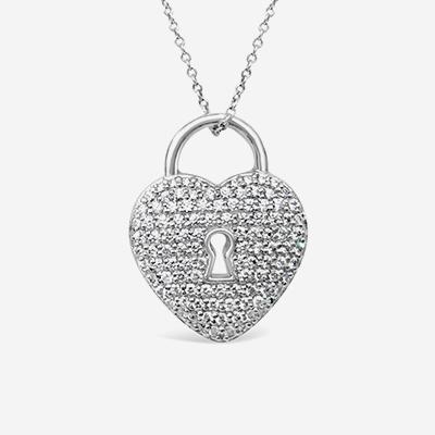 Estate earrings eb horn jewelry stores in massachusetts platinum tiffany pave diamond heart lock pendant aloadofball Gallery