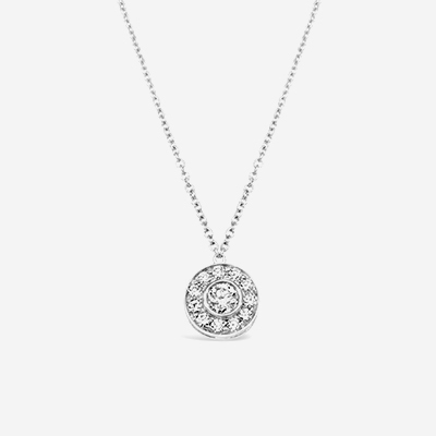 Platinum Tiffany Round Diamond Halo Pendant