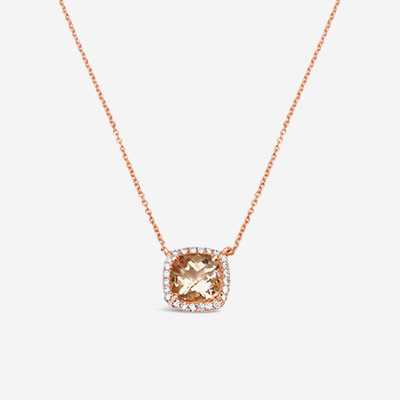 18kt Diamond Halo Morganite Pendant